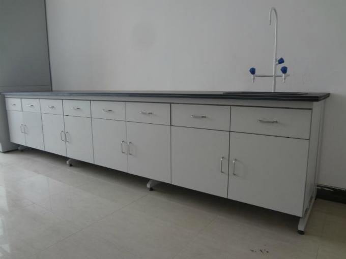 Steel Wood Lab side bench With Wood Cabinet For Laboratory furniture