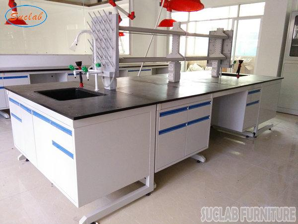 Costomized Anti Strongest Corrosion / Acid / Alkali Blue / White Steel Lab Bench Furniture