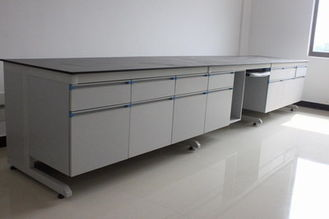 China Steel Wood Lab side bench With Wood Cabinet For Laboratory furniture supplier