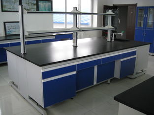 China Blue Stable Steel / Wood 16mm MDF Laboratory Wall Bench WithAluminum Alloy Handle supplier