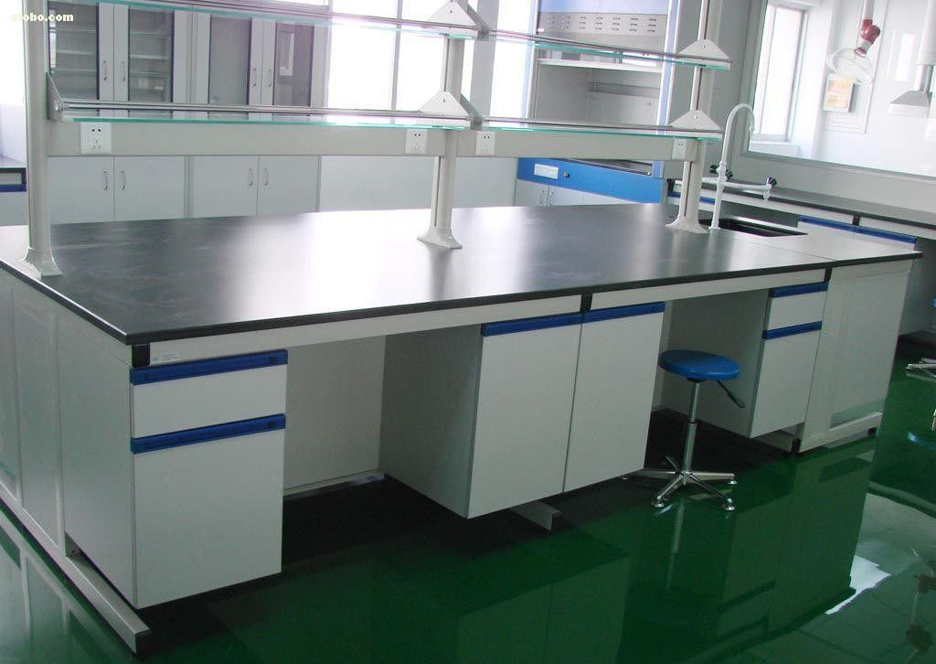 Corrosion Resistant Steel Wood Lab Island Bench / Workbench Lab Systems  Furniture